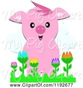 Swine Clipart of Happy Cartoon Pig over Colorful Flowers by