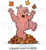 Swine Clipart of Happy Cartoon Pig Playing in Autumn Leaves by Cory Thoman