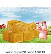 Swine Clipart of Happy Cartoon Pig Presenting Hay Bales by Graphics RF