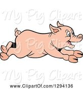Swine Clipart of Happy Cartoon Pig Running to the Right by LaffToon