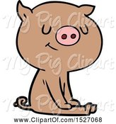 Swine Clipart of Happy Cartoon Pig Sitting by Lineartestpilot