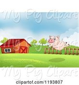 Swine Clipart of Happy Cartoon Pig Trying to Fly in a Pasture by a Barn by Graphics RF