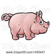 Swine Clipart of Happy Cartoon Pig with a Curly Tail by AtStockIllustration