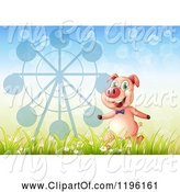 Swine Clipart of Happy Cartoon Pig with a Ferris Wheel Silhouette by Graphics RF