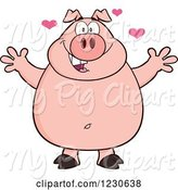 Swine Clipart of Happy Cartoon Pig with Hearts and Open Arms for a Hug by Hit Toon