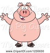 Swine Clipart of Happy Cartoon Pig with Open Arms for a Hug by Hit Toon