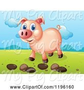Swine Clipart of Happy Cartoon Pig with Pebbles in a Valley by Graphics RF