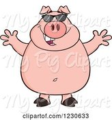 Swine Clipart of Happy Cartoon Pig with Sunglasses and Open Arms by Hit Toon