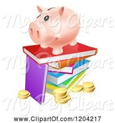 Swine Clipart of Happy Cartoon Piggy Bank on a Stack of Books over Coins by AtStockIllustration