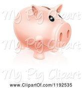 Swine Clipart of Happy Cartoon Piggy Bank Smiling by AtStockIllustration