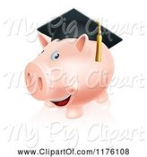 Swine Clipart of Happy Cartoon Piggy Bank Wearing a Graduation Cap by AtStockIllustration