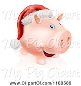 Swine Clipart of Happy Cartoon Piggy Bank with a Christmas Santa Hat by AtStockIllustration