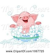 Swine Clipart of Happy Cartoon Piglet Taking a Bath by Pushkin
