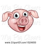 Swine Clipart of Happy Cartoon Pink Pig Mascot Face by AtStockIllustration