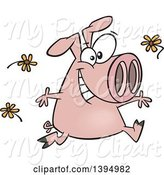 Swine Clipart of Happy Cartoon Pink Pig Running and Tossing Spring Flowers by Toonaday