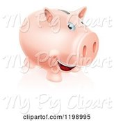Swine Clipart of Happy Cartoon Pink Piggy Bank Smiling by AtStockIllustration