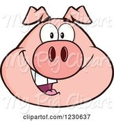 Swine Clipart of Happy Cartoon Smiling Pig Face by Hit Toon