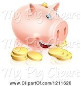 Swine Clipart of Happy Cartoon Smiling Piggy Bank with Golden Coins by AtStockIllustration