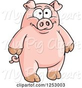 Swine Clipart of Happy Cartoon Standing Pig by Vector Tradition SM