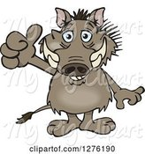 Swine Clipart of Happy Cartoon Warthog Holding a Thumb up by Dennis Holmes Designs