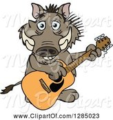 Swine Clipart of Happy Cartoon Warthog Playing an Acoustic Guitar by Dennis Holmes Designs