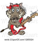 Swine Clipart of Happy Cartoon Warthog Playing an Electric Guitar by Dennis Holmes Designs
