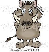 Swine Clipart of Happy Cartoon Warthog Standing by Dennis Holmes Designs