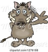 Swine Clipart of Happy Cartoon Warthog Waving by Dennis Holmes Designs