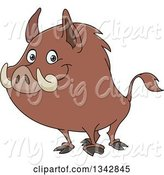 Swine Clipart of Happy Cartoon Wild Boar Facing Left and Smiling by Yayayoyo