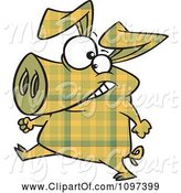 Swine Clipart of Happy Cartoon Yellow Plaid Pig Walking Upright by Toonaday