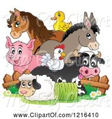 Swine Clipart of Happy Chicken Horse Donkey Pig Duck Cow and Sheep by a Fence by Visekart