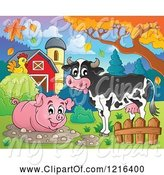 Swine Clipart of Happy Cow and Pig in a Mud Puddle in Autumn by Visekart