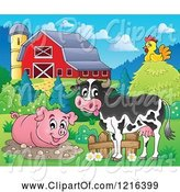 Swine Clipart of Happy Cow Chicken and Pig in a Mud Puddle by Visekart