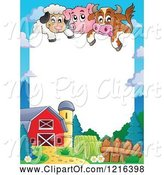 Swine Clipart of Happy Cow Pig and Sheep over a Barnyard Border by Visekart