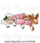 Swine Clipart of Happy Cow Pig and Sheep over a Border by Visekart