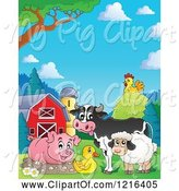 Swine Clipart of Happy Cow Pig Duck Sheep and Chicken in a Barnyard by Visekart