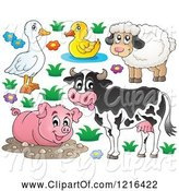 Swine Clipart of Happy Cow Pig Sheep Duck and Goose by Visekart