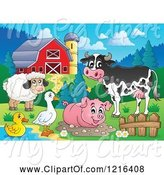 Swine Clipart of Happy Cow Sheep Pig Duck and Goose in a Barnyard by Visekart