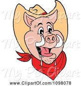 Swine Clipart of Happy Cowboy Pig Drooling by LaffToon