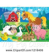 Swine Clipart of Happy Duck Goose Sheep Pig and Horse by a Pond in a Barnyard by Visekart