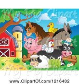 Swine Clipart of Happy Duck Horse Donkey Pig Chicken Cow and Sheep with Hay in a Barnyard by Visekart