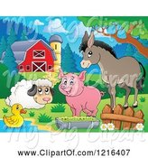 Swine Clipart of Happy Duck Sheep Pig and Donkey by a Puddle in a Barnyard by Visekart