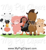 Swine Clipart of Happy Farm Animals Standing Together by BNP Design Studio
