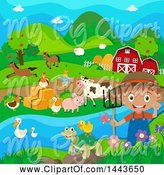 Swine Clipart of Happy Farmer Boy with Livestock at a River by Graphics RF