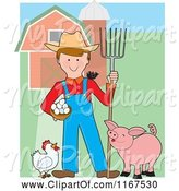 Swine Clipart of Happy Farmer with a Pitchfork Eggs Chicken Bird and Pig by a Barn by Maria Bell