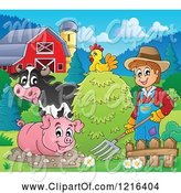 Swine Clipart of Happy Farmer with Hay a Chicken Cow and Pig in a Barnyard by Visekart