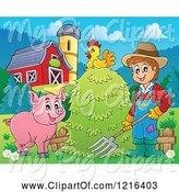 Swine Clipart of Happy Farmer with Hay a Pig and Chicken in a Barnyard by Visekart