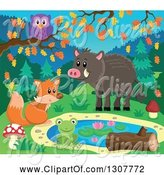 Swine Clipart of Happy Fox, Frog, Boar and Owl at a Pond on an Autumn Day by Visekart