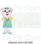 Swine Clipart of Happy Girl Pig by a Wave Label by