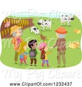 Swine Clipart of Happy Grandparents and Children at a Farm by BNP Design Studio